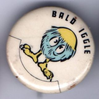 1955 Bald Iggle Pinback Button Al Capp Lil Abner Pin
