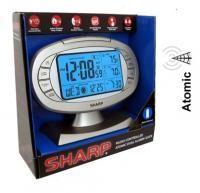 Sharp radio clock controlled atomic dual alarm clock w/ wireless