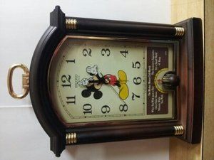 Walt Disney Seiko alarm mantle clock Mickey Mouse 6 disney songs
