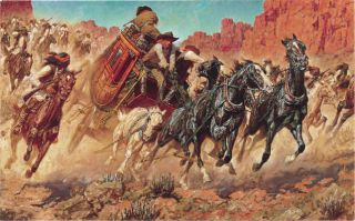 Arnold Friberg Trouble for The Butterfield Stage Coach Native American