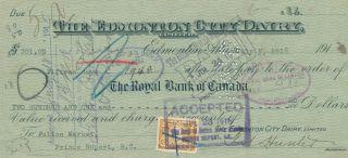 Alberta Edmonton City Dairy Check 1918 with War Tax Stamp Royal Bank