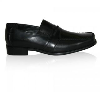 Mens Leather Dress Shoes Slip on Black or Brown Loafers Brand New