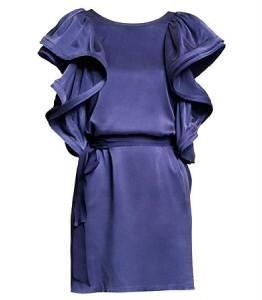 Lanvin H M Navy Blue Ruffle Sleeve Silk Dress w Belt