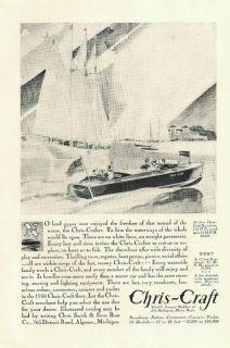 1930 Vintage Chris Craft Mahogany Motor Boat Print Ad