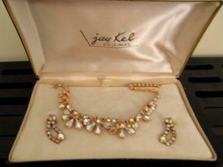 Jay Kel Original A/B Rhinestone Necklace Earrings