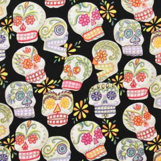 Alexander Henry Day of Dead Large Calaveras Sugar Skulls Black Glitter