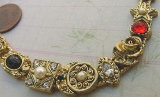 Vintage Solid Brass Fancy Slide Charms Bracelet Never Been Worn