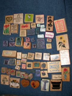 Lot of 60 Various Rubber Craft Stamps Stampin Up Rubber Stampede More