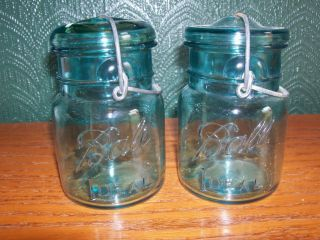 Vintage 2 Blue Ball Ideal Pint Size Jars with Wire Glass Lids 1923