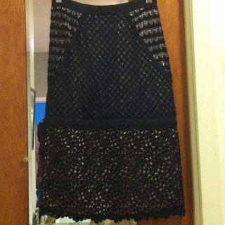 Alessandro Dellacqua black lace and ribbon pencil skirt size 38
