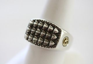 David Yurman Mens Sterling Silver Alligator Textured Ring