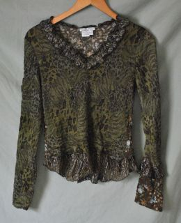 ALBERTO MAKALI Womens Abstract Animal & Floral Print Shirt top sz L