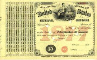 1876 Peddler STS $15 3rd Class Liquor Tax Tobacco Stamp