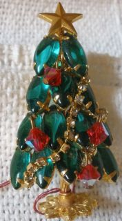 Large Vintage Prong Set Rhinestone Christmas Tree Brooch Jewelry Lot 7