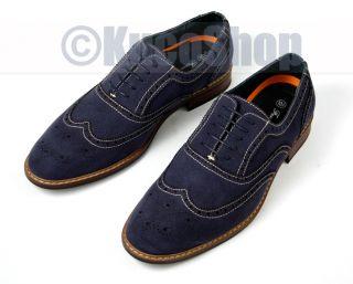 Delli Aldo Men Wingtip Oxfords Dress Shoes Classic Navy Blue Size 12