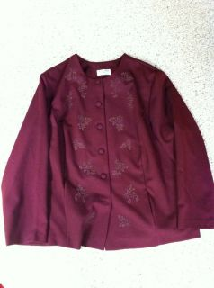 Alfred Dunner Womens Burgundy Blazer with Beading Size 26W