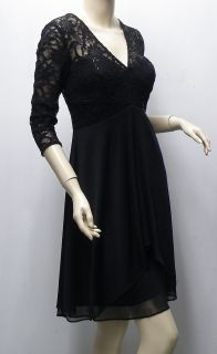 Alex Evenings Black Lace Sequin Dress 10 Petite