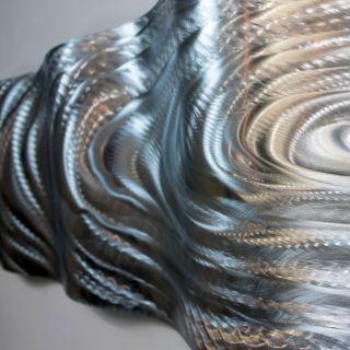Abstract Silver Wave Metal Wall Art Sculpture Original By Jon Allen