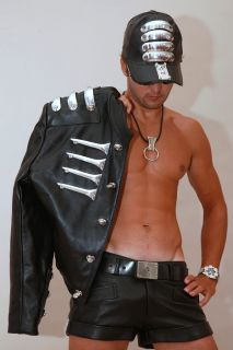 Men Black Leather Neo Steampunk Jacket Hi Tek Alexander