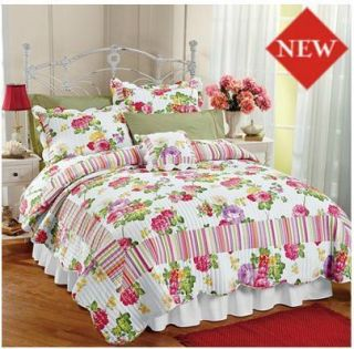 CLEARANCE DAYBED QUILT KING SHAM SPRING SUMMER FLORAL RED GREEN YELLOW