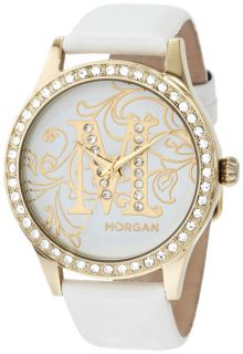 MORGAN LADIES STONES SET GOLD CASE WHITE LEATHER STRAP WATCH