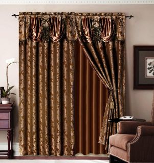 Jaquard Bronze Panel Valance Curtain Drapes Window Set New