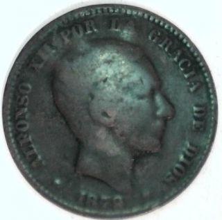 1879 Spain Diez 10 Centavos Alfonso XII Por La Gracia De Dios Free US