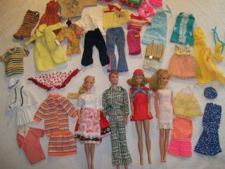vintage barbie midge allan dolls mixed lot of clothing and more