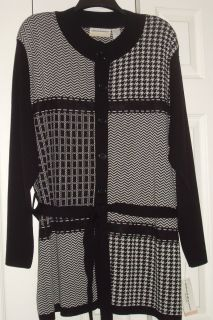 NEW ALFRED DUNNER WOMENS SZ 2X BLK WHT GRAPHIC BELTED CARDIGAN JACKET