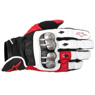 Octane s Moto Leather Motorcycle Race Gloves White Red Black
