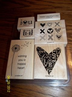 New Stampin Up Wood Stamp Set A Happy Heart Tic Tac Toe Love Flower