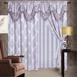 Silver Jaquard Panel Valance Curtain Drapes Window Set New
