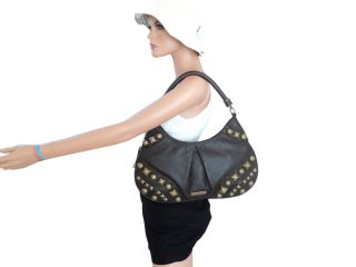 AUTHENTIC BURBERRY BROWN LEATHER ALVERTON STUDDED HOBO BAG PURSE $1295
