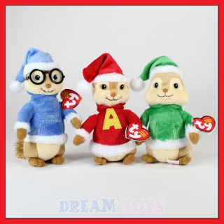 TY Alvin and the Chipmunks Christmas Plush Doll set of 3   Toy