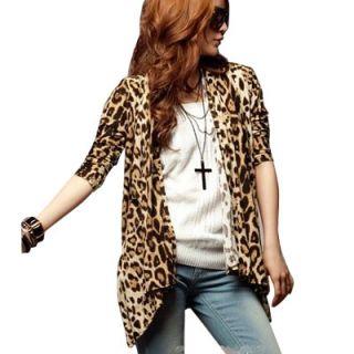 Allegra K Leopard Print Long Sleeve Cardigan Coat Outerwear Jacket 3