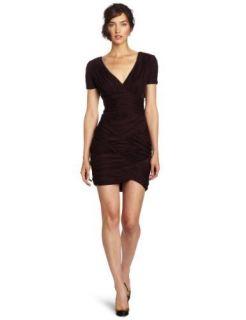 NWT Halston Heritage Ruched Chiffon Jersey Dress Aubergine Large