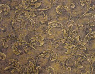 Black Brown Gold Leaf Scroll Wallpaper