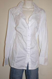 3X LANE BRYANT White Long Sleeve Button Front Shirt plus size 22W 24W