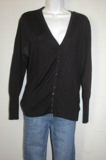 1X NINE WEST WOMAN Black Cardigan wool blend Button knit Sweater plus