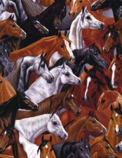 Timeless Treasures West Fabric Horse 4961 Brown BTY