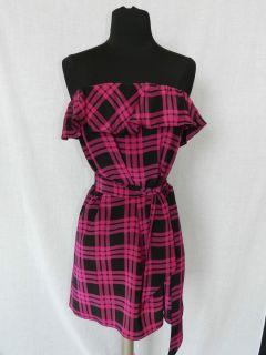 Cute Amanda Uprichard Strapless Pink and Black Plaid Dress Sz S