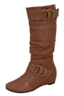 Blossom Amar 9B Women Flat Bottom Knee High Tall Boots Wrinkled PU