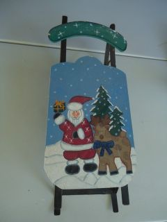 Snow Sled Christmas Theme Painted wood with heavy metal runners 2 feet