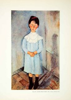 Girl Blue Portrait Amedeo Modigliani Fashion Dress Child Bow