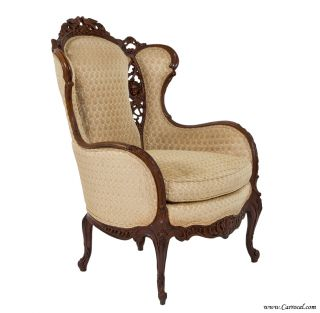 Antique Gorgeous Louis XV Mahogany Living Room Wing Chair Excellent