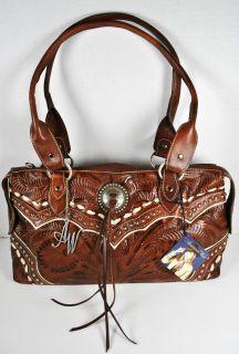 American West Womens Brown Leather East West Tote Handbag Purse $220