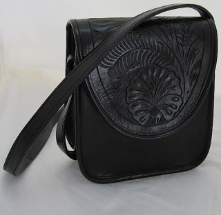 American West~BLACK HandTooled Leather ~Purse/Handbag/Shoulder Bag