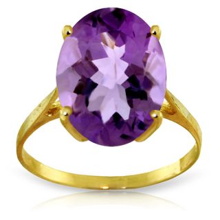 14k Solid Gold Amethyst Ring Natural Oval Purple Amethyst $1074