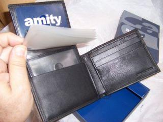 amity passcase genuine leather billfold wallet black