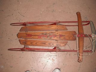Vintage Flexible Flyer Snow Sled Metal Wood 37 J Pick Up Only